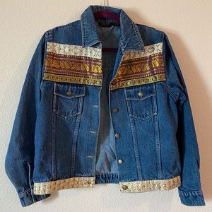 Vintage Silk Thread Detail Denim Jacket